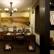 中式原木搭配桌椅的书房装修