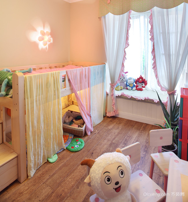 清新烂漫北欧30平儿童套房设计效果图