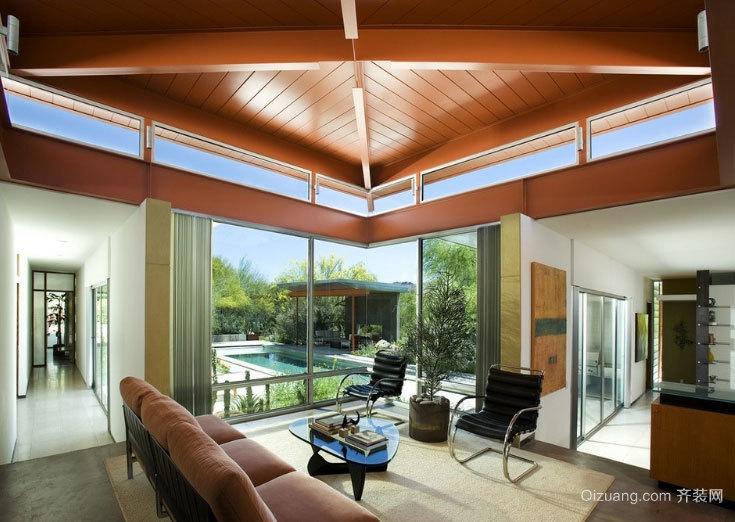 120平米美式略带乡村气息的客厅样板房效果图