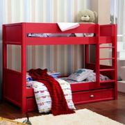 红色靓丽儿童房双层床设计