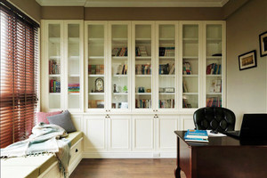 白色玻璃书房架子图