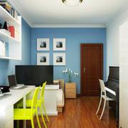 蓝白相间的书房室内效果