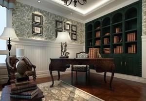 现代美式大户型书房效果图