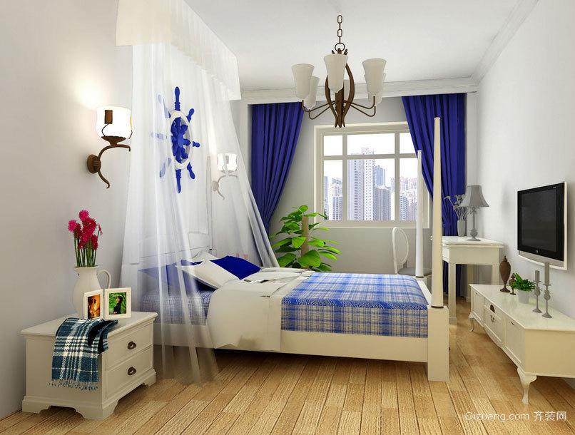 唯美地中海风格大户型卧室背景墙装修效果图