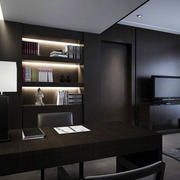 黑色开放式书房