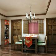 餐厅原木桌椅书架