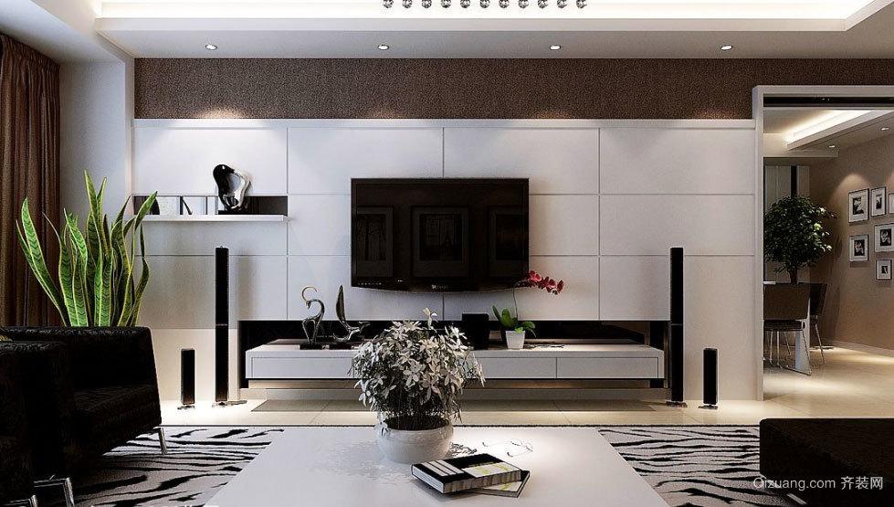 别墅暖色调简约风格电视背景墙