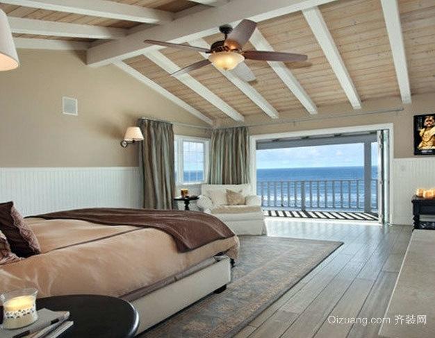 复式斜顶阁楼美式混搭风格小卧室装修效果图