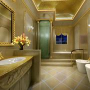 金黄色调卫生间