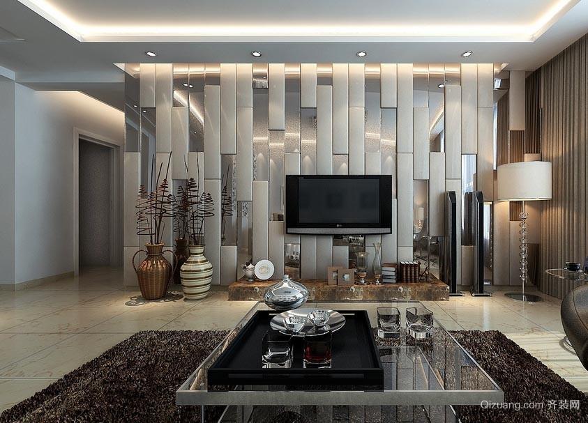 简单大方30平米客厅液晶电视背景墙装修效果图
