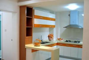 现代简约两室一厅厨房吧台装修效果图