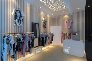 现代时尚精品小服装店装修效果图