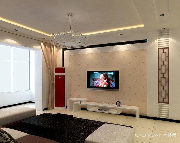 138平米时尚简约风格客厅背景墙效果图
