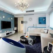 蓝色调小户型客厅
