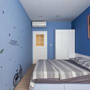 家居蓝色卧室背景墙