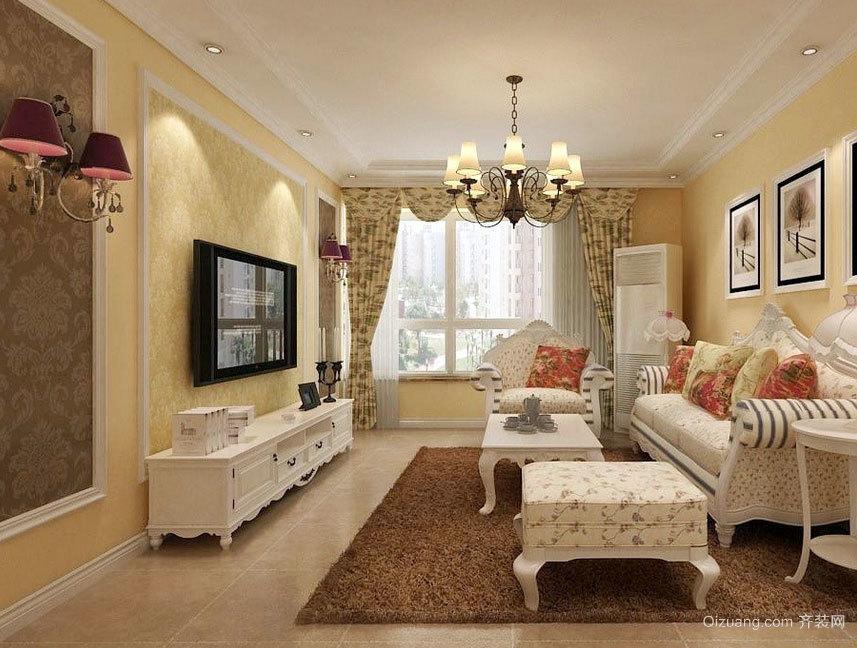 三室二厅现代欧式风格客厅吊顶装修效果图