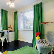 绿色小户型窗帘效果图