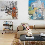 简约风之复式楼客厅漆皮沙发设计