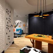 50平米小型橙色吧台设计