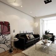 三室两厅客厅黑色沙发