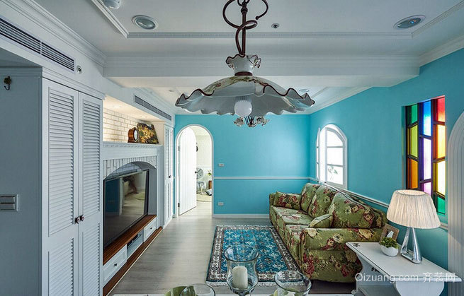 现代水色田园:160平米三室两厅两卫装修效果图