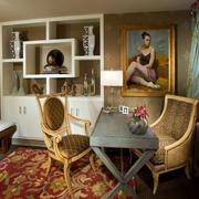 欧式书房复古桌椅设计