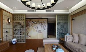 公寓客厅镂空屏风隔断设计
