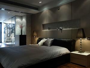深色卧室床头背景墙设计