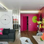 公寓紫红色墙面设计