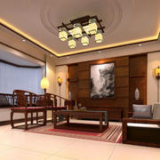 都市精致中式客厅装修效果图