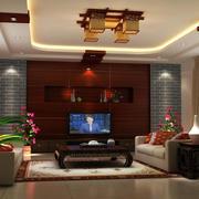 现代中式电视背景墙装修效果图