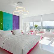公寓多彩卧室床头背景