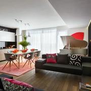公寓黑色客厅沙发图