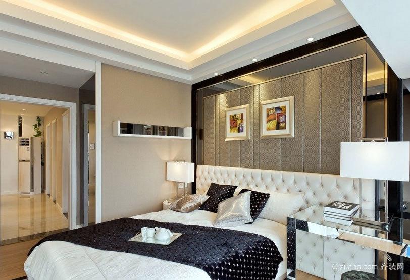 高贵典雅:欧式大户型卧室软包背景墙装修效果图