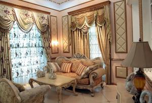 暖色调飘窗窗帘设计