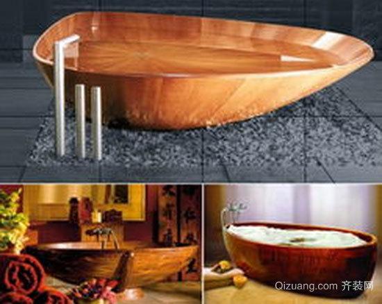 现代简约风格卫生间原木浴缸装修效果图