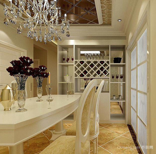 经典别墅型欧式餐厅酒柜装修效果图