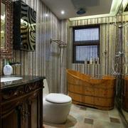 卫生间原木色浴缸装修