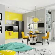公寓厨房黄色橱柜