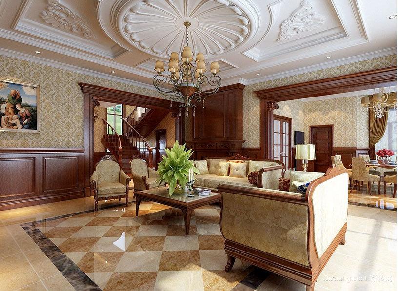 精致美式别墅客厅装修效果图