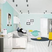 公寓天蓝色墙面展示