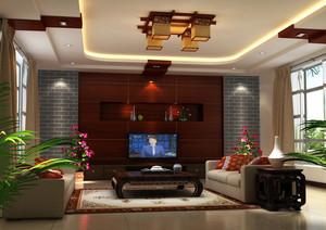 时尚大气的大户型中式家装客厅装修效果图