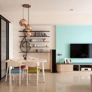 简欧型粉蓝色客厅电视背景墙