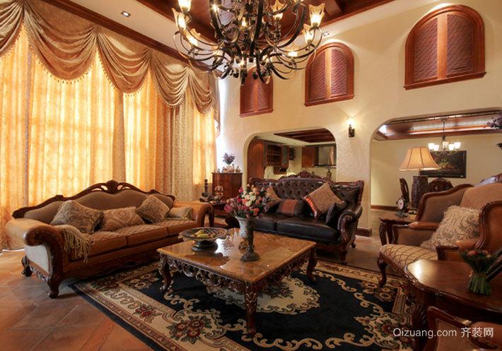 120平米美式室内客厅装修效果图设计
