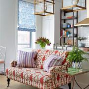 红色田园式碎花沙发设计
