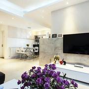 小户型客厅大理石电视背景墙