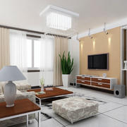 纯色调客厅硅藻泥背景墙效果图