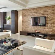木色硅藻泥电视墙设计