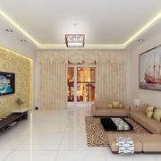 纯色调的客厅石膏线装修图