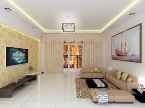 现代欧式别墅型客厅石膏线装修效果图